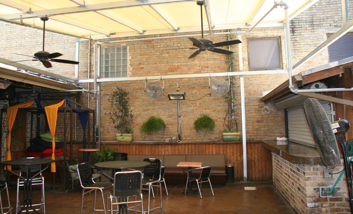 New awning structure and sprinkler system, bar renovations