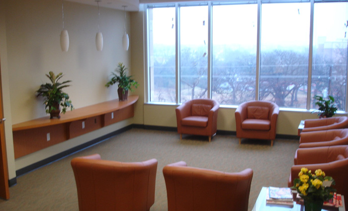 New waiting room with chairs