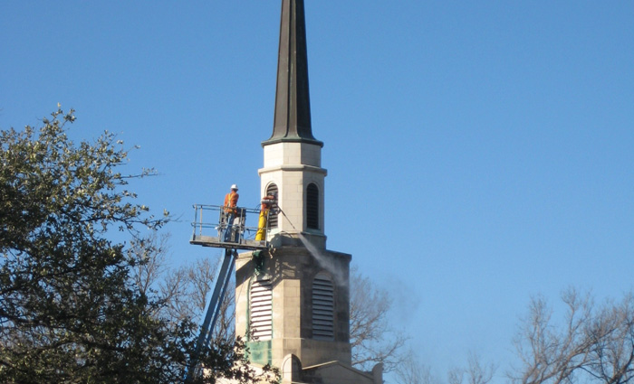 Tower steeple historic louver renovations under construction
